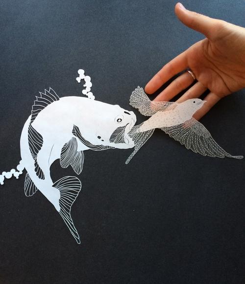 Папер арт. Рыба и птица вырезанные из бумаги