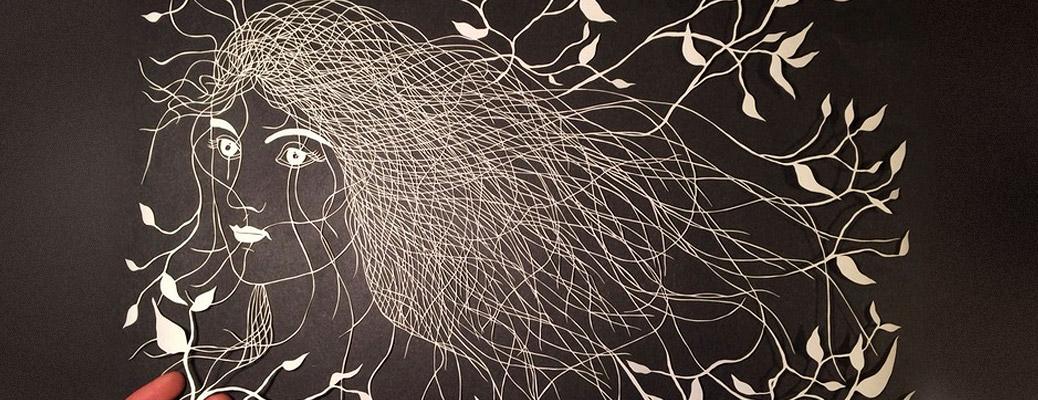 Папер-арт(paper art): Девушка вырезанная из бумаги