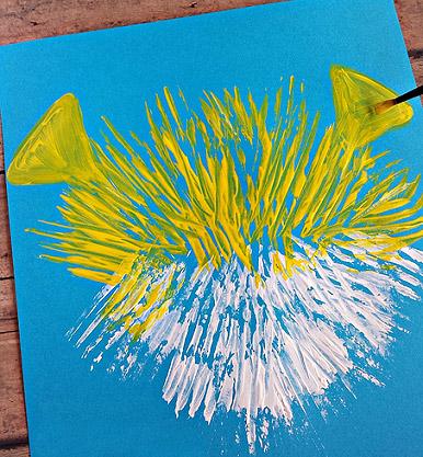 Как рисовать вилкой рыбу