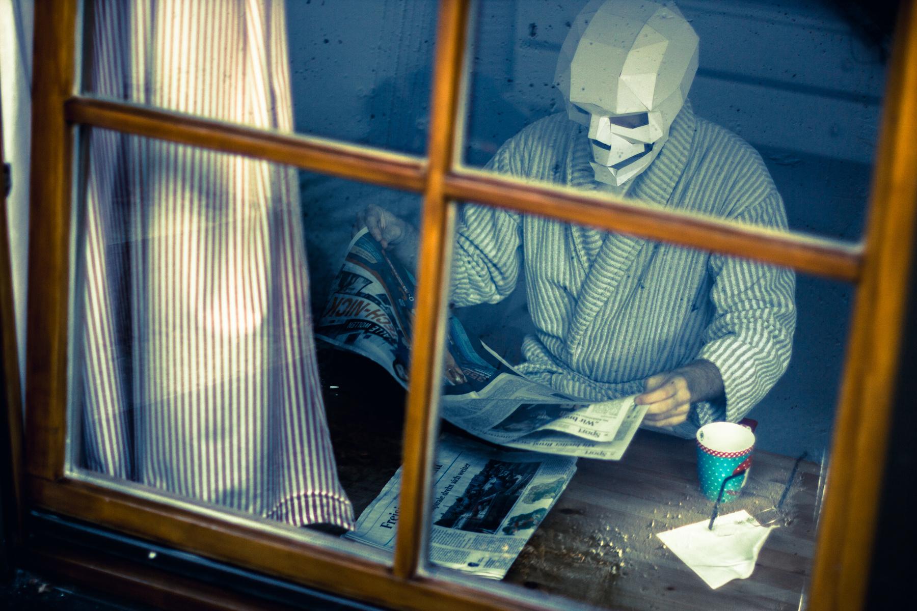 Человек в маске черепа
