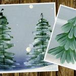 4 самых простых способа рисовать елку или сосну кистью