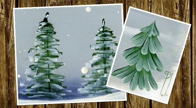 Read more about the article 4 самых простых способа рисовать елку или сосну кистью